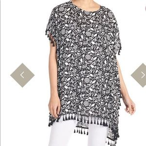 Caftan Style Fringed Top/Coverup